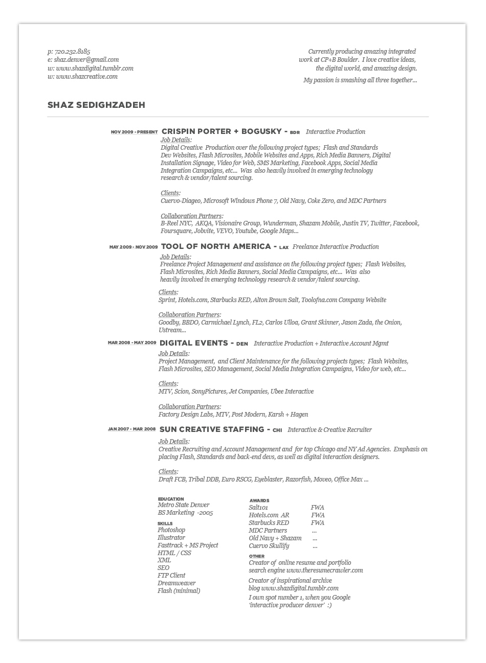 Integrated producer resume